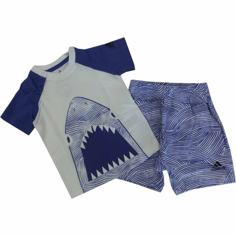 Adidas completino bambino unisex bianco-blu