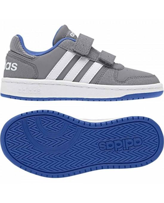 cheaper 1aae6 eb48d ... Adidas hoops scarpe con strappi bambino, grigio ...