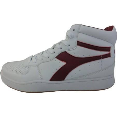 Diadora playground high, scarpe uomo, bianco-rosso