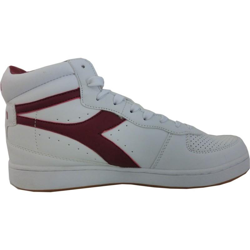 Diadora playground high, scarpe uomo, bianco rosso
