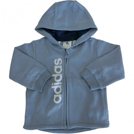 Adidas tuta cappuccio unisex bambino, azzurro-blu